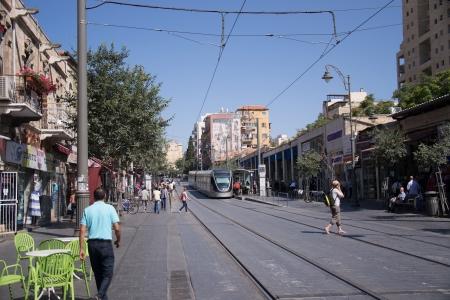 historic world event: Jaffa street in Jerusalem,Israel