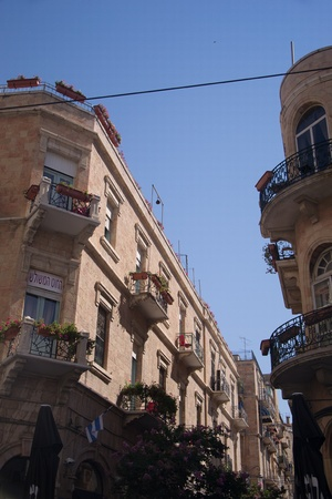 hebrew script: Jaffa street in Jerusalem Editorial