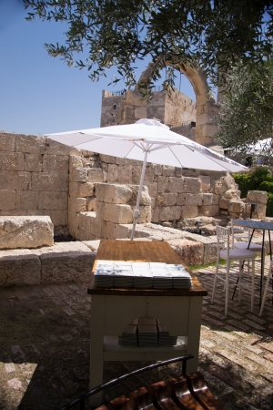 Cafe Inside the walls of the old city in Jerusalem