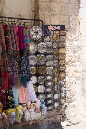 Tourist shop in the market of the old city of Jerusalem Editorial