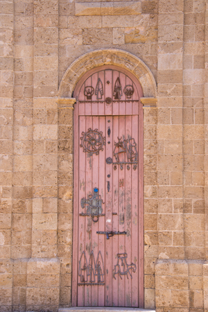 Old wooden door on Jaffo street, Israel