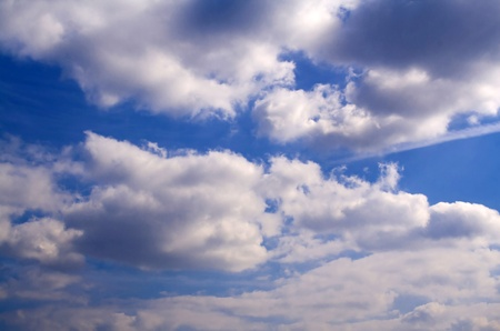 clr: blue sky, white clouds, the clouds overhead. Stock Photo