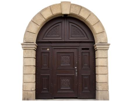 arcos de piedra: puertas antiguas, historia de la ciudad, las puertas sobre un fondo blanco