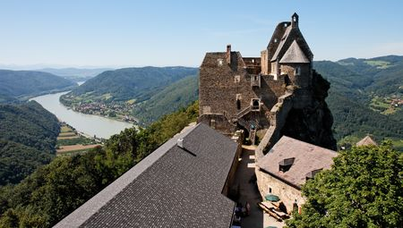 Danube valley view from Aggstein medieval castle in Wachau, Austia