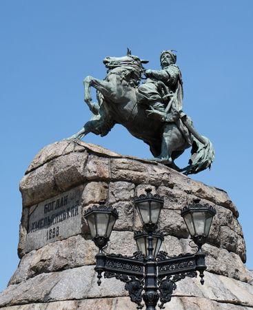 Equestrian statue (monument) of Hetman Bogdan Khmelnytsky in Kiev, Ukraine photo