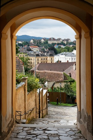 View of the Melk town in Austria through the archway
