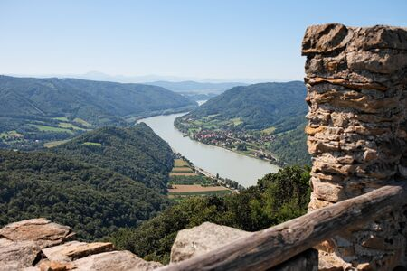 View of Danube valley from ruins of medieval Aggstein castle in Austria Stock Photo