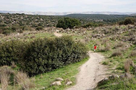 Lonely little boy walks along the trail among hills outdoor