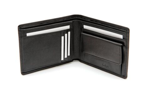 Open black wallet with white business cards Stock Photo