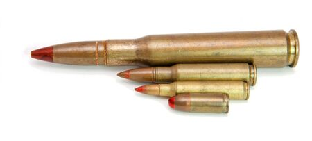 Four red-tipped tracer cartridges of various calibers isolated Stock Photo - 4712210