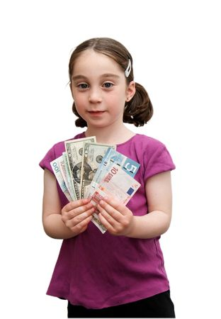 seven years: Smiling seven years girl with pigtails holds a fan of banknotes