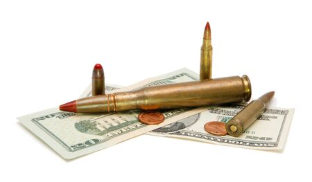 m16 ammo: American banknotes, coins and tracer cartridges on white background