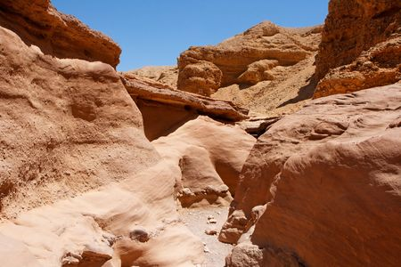 canyon negev: Scenic red rocks in Red Canyon, Israel Stock Photo