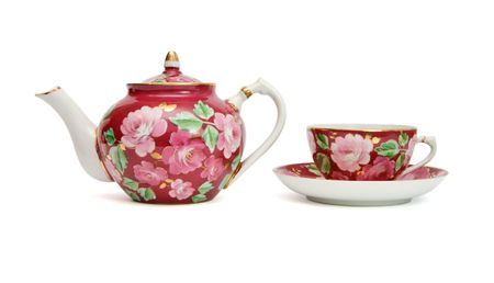 Old-fashioned floral-painted tea service isolated  Stock Photo