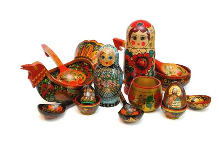 Assorted Russian folk wooden toys and utensils isolated Stock Photo - 4993870