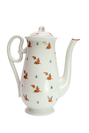 dogroses: White high teapot painted with dogroses isolated  Stock Photo