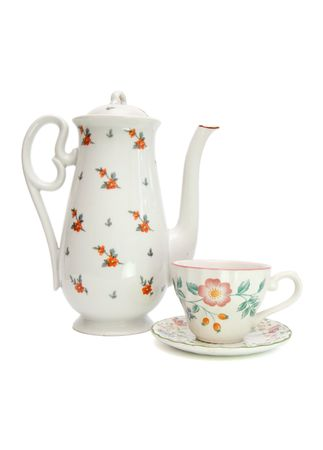 White tea service consisting of high teapot and cup with saucer painted with dogroses isolated  Stock Photo