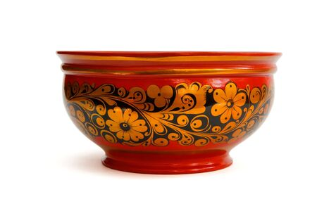 laquered: Laquered painted Russian khokhloma bowl  isolated