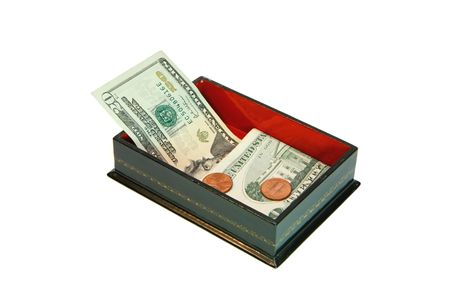 Green rectangular casket with USA money isolated photo