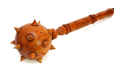 spiky: Wooden spiky souvenir mace isolated on white