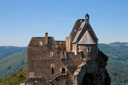 onion valley: Towers and roofs of medieval Aggstein castle in Donau valley, Austria on sky background