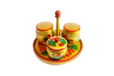 pepperbox: Russian wooden painted saltcellar, pepperbox and sugar basin isolated
