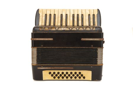 Vintage brown 1930s accordion isolated on white background