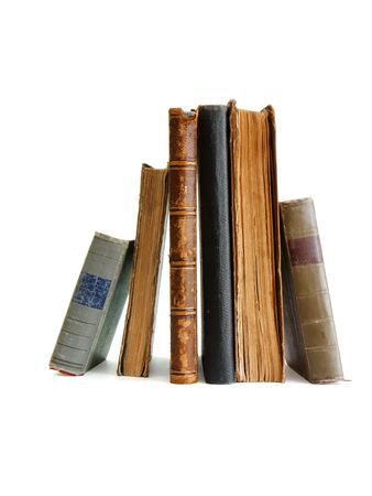 Stack of old books standing isolated