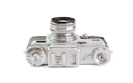 Vintage 35mm film rangefinder camera top view isolated photo