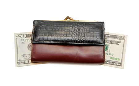 Retro womans leather purse on dollar bills  isolated  photo