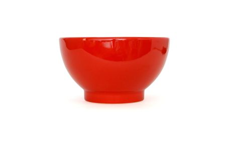 soup bowl: Red porcelain bowl side view isolated