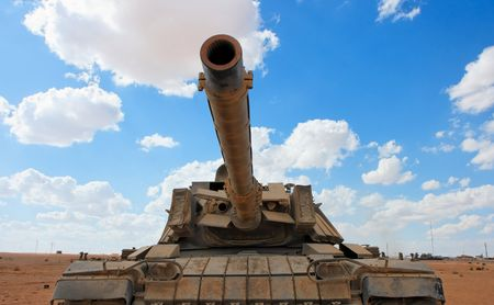 Old Israeli Magach tank near the military base in the desert  Stock Photo
