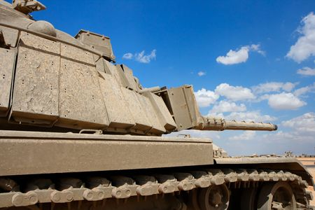 firepower: Old Israeli Magach tank near the military base in the desert  Stock Photo