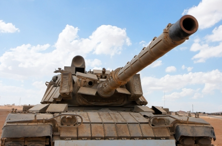 israeli: Old Israeli Magach tank near the military base in the desert  Stock Photo