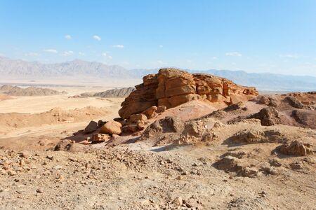 Rocky desert landscape near Eilat in Israel photo
