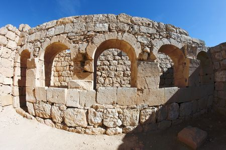 Ancient stone arches distorted by fisheye photo