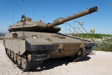 Latrun, Israel - January 09, 2010 - New Israeli Merkava Mark IV tank on display in Latrun Armored Corps museum
