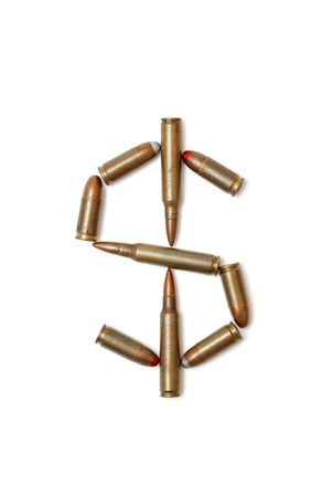 Dollar symbol made of cartridges isolated