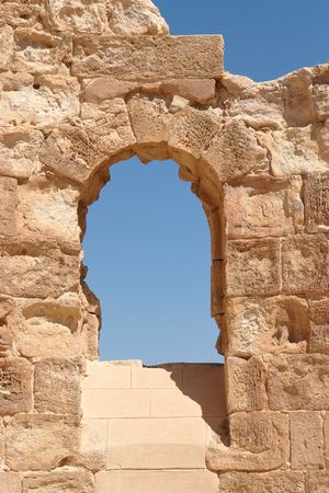 Ancient stone arched window Stock Photo