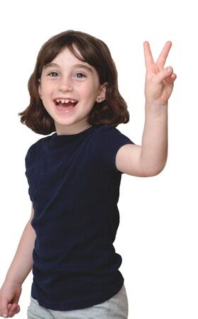 Laughing cute little years girl shows V-sign isolated photo