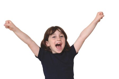 Cute little years girl raises her arms in a victory sign isolated Stock Photo
