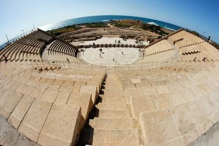 Caesarea amphitheater fisheye view photo