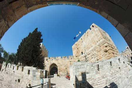 Fisheye view of an citadel in Jerusalem through arch  photo