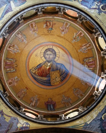 Sunlit painting of Jesus Christ on dome of Church of the Holy Sepulchre in Jerusalem Stock Photo - 7795367