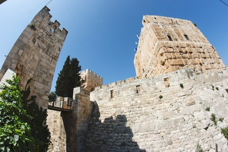 Fisheye view of an ancient citadel in Jerusalem Old City  photo
