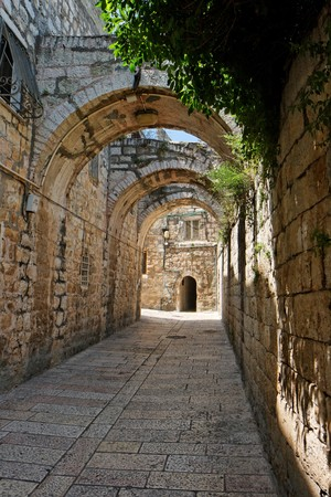 arched: Arched passage in the Old City of Jerusalem Stock Photo
