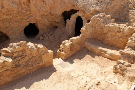 Ruins of ancient church in Masada fortress in Israel photo