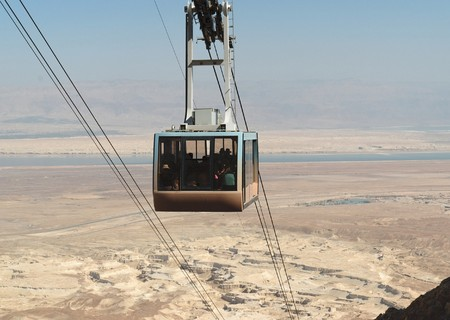 Aerial tramway or cable car over the desert near the Dead Sea in Israel