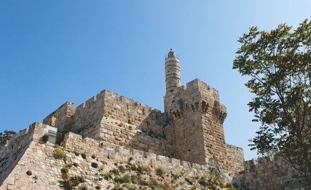 Ancient citadel and Tower of David in Jerusalem  photo