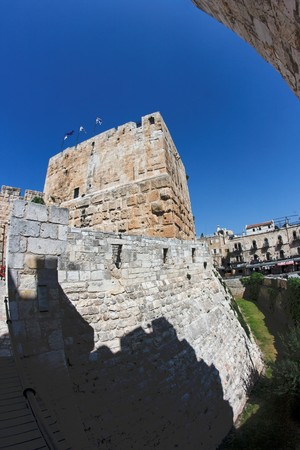Fish-eye view of an ancient citadel in Jerusalem Old City  photo